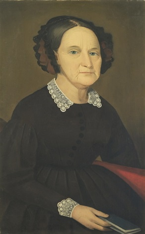 half length portrait of a woman wearing a black dress with a lace collar and seated on a red sofa with a book in her right hand by ammi phillips
