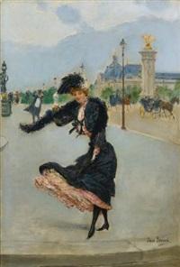 elegante devant le grand palais sur le pont alexandre iii by jean béraud