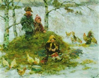 children feeding chickens by sergei gusev