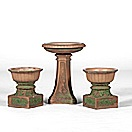 garden urns and matching bird bath (set of 3) by rookwood pottery