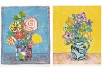 bouquet in the blue background (+ bouquet in the yellow background; set of 2) by paul aïzpiri