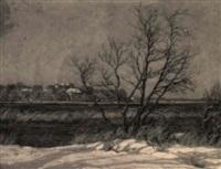 blick über den see - winterlandschaft by karl hennemann