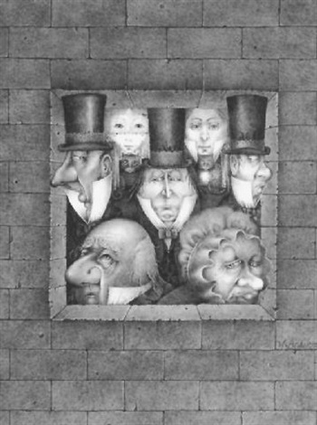 three men in top hats a young girl two women another man and two cats seen through opening in brick wall by wayne anderson