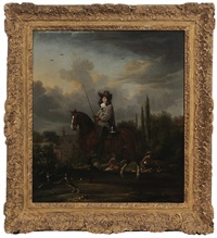 sporting scene with a nobleman on horseback, said to be signeur de moorseween by thomas de keyser
