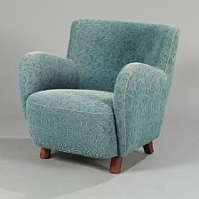 Easy Chair Upholstered With Petrol Blue Patterned Fabric By Mogens Lassen