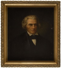 portrait of john c. calhoon wearing a black frock coat and a black stock by eunice makepeace towle