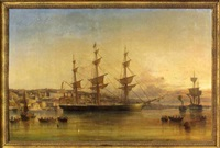 three-masted ship in a harbor by george atkinson