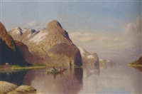 rowing hay across the fjord by fritz chwala