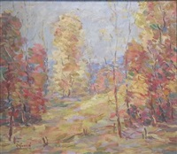 fence amidst fall foliage by herbert nelson hooven
