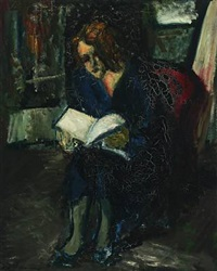 interior with reading woman by jens andersen sondergaard