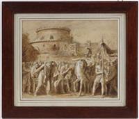 scène de capitulation, bataille romaine by luigi ademollo