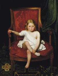 portrait of a young girl seated in a large red bergère by charles valfort