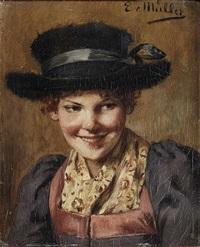 bildnis eines bauernmädchens mit einem breitkrempigen hut by emma (edle von seehof) müller