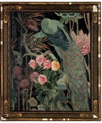 peacock and roses by william macdonald
