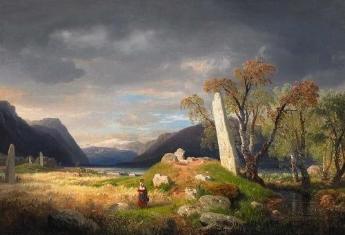 norwegische fjordlandschaft mit hügelgräbern by andreas achenbach