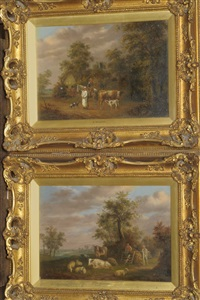 farmer on horseback with a cow and calf nearby (+ landscape with farmers, cattle and sheep beside a path; pair) by edmund bristow