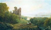 estuary scene with castle ruin, an artist and fisherman in the foreground by george f. buchanan