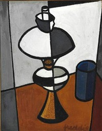 still life with a lamp and a vase by wilhelm freddie