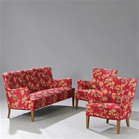 Living Room Suite Consisting Of Three Seater Sofa And Two Easy Chairs By Frits Henningsen