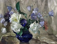 still life with flowers in a blue jug, wooden by colin cairness clinton campbell