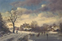 skaters at a dutch riverside hamlet in winter by stephen de haan
