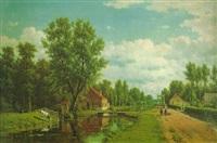 apeldoorn. sommertag an einem holländischen kanal by jacob jan van der maarten