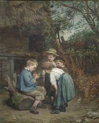 vier kinder mit einer schnecke by edouard frere