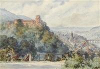 heidelberger schloss und stadt von osten. darstellung in anlehnung an e. willmanns um 1850 entstandene graphik by franz huth