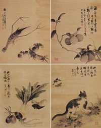 花鸟 (四幅) (in 4 parts) by jiang yu