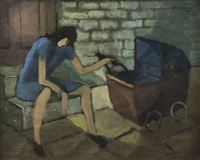 woman with pram by arthur armstrong