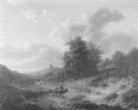 weite hügellandschaft mit schafen und bauern by françois gurnet