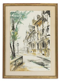 street in paris and courtyard in paris (2 works) by john hulse