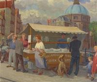 heringsstand auf einem holländischen marktplatz by henk melgers