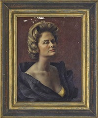 portrait of pauline billie graves (1924-1989), bust-length, in a gold evening dress and black evening coat by douglas anderson