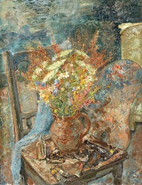 wiesenblumenstrauß im künstleratelier by mathias barz