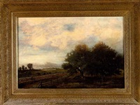 figure walking the tracks along the mississippi with the city in the distance by edward livingston