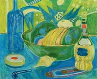still life with wine bottles, pipe and a fruit bowl by christine swane