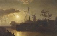 holländische kanalpartie im mondlicht by felix kreutzer