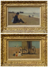 a pair of coastal scenes depicting children seated by a bathing machine and a man seated with a girl reading by horace mann livens