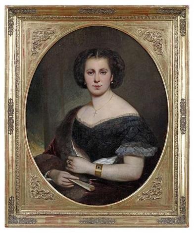 bildnis einer eleganten dame in dunklem kleid und rotem mantel mit pelzbesatz by joseph mathäus aigner
