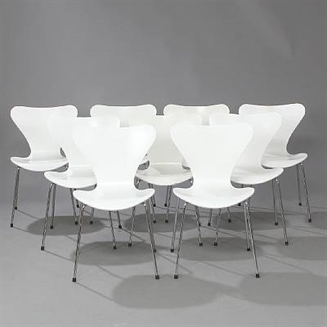 seven chair stacking chairs (set of 9) by arne jacobsen