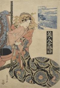 bijin debout, montrant des étoffes (from bijin imayo sugata, belles femmes élégantes) by kikugawa sencho