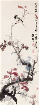 bird on red leaves by fu baoshi and qian songyan