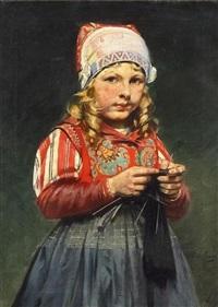 strickendes mädchen by rudolf possin