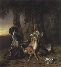 jagdhund am waldrand by wilhelm reinhardt