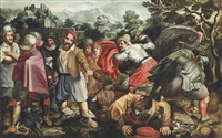 peasants brawling in a landscape by vincenzo campi