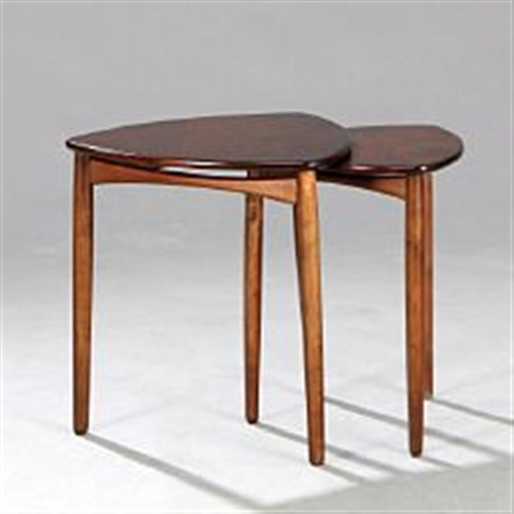 Two nesting tables with stained beech legs stained nutwood top by two nesting tables with stained beech legs stained nutwood top by ejnar larsen and aksel watchthetrailerfo