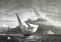 sail boat at sea, with the eruption of mt. vesuvius by robert smith