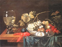 nature morte avec homard, verre romain, et fruits by cornelis de bryer