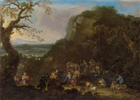 jakob und rahel am brunnen (gen 29,1-14) by jan frans van bloemen